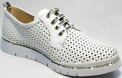Модные спортивные туфли в английском стиле женские летние GUERO G177-63 White.