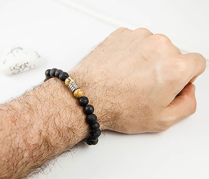 BS829 Лаконичный браслет из карельского шунгита, ручная работа фото 07