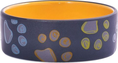 КерамикАрт миска керамическая для собак 420 мл черная с желтым