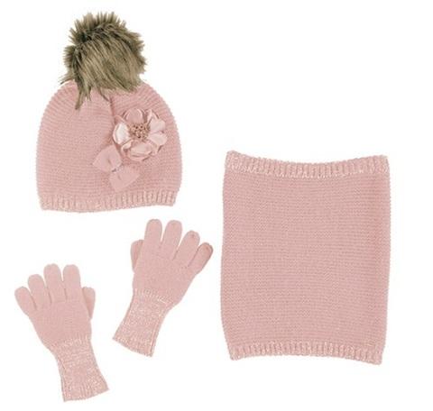 Комплект Mayoral шапка, снуд и перчатки Розовая пудра