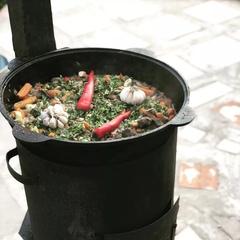 Комплект: печь с дымоходом + казан 8л