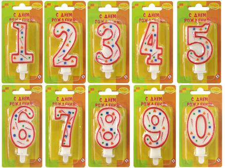 Свеча Цифра красное конфетти в ассортименте