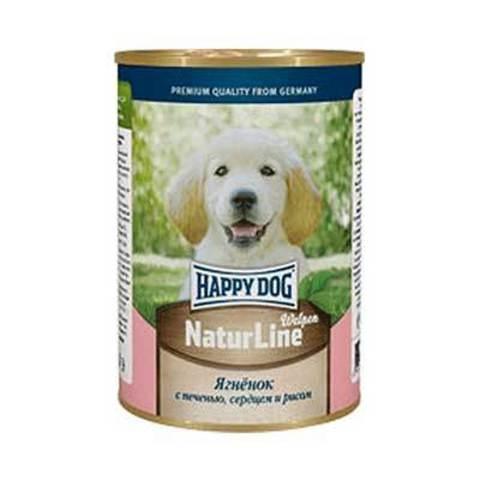 HAPPY DOG Консервы для щенков с ягненком, печенью, сердцем и рисом 8000 г. (400г.*20)