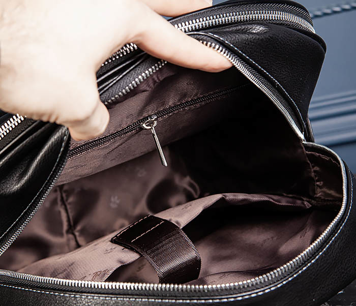 BAG523-1 Мужской рюкзак из гладкой черной кожи фото 16