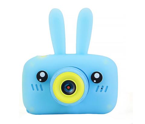 Детский фотоаппарат Fun Kids Camera Rabbit с силикон чехлом зайчик голубой