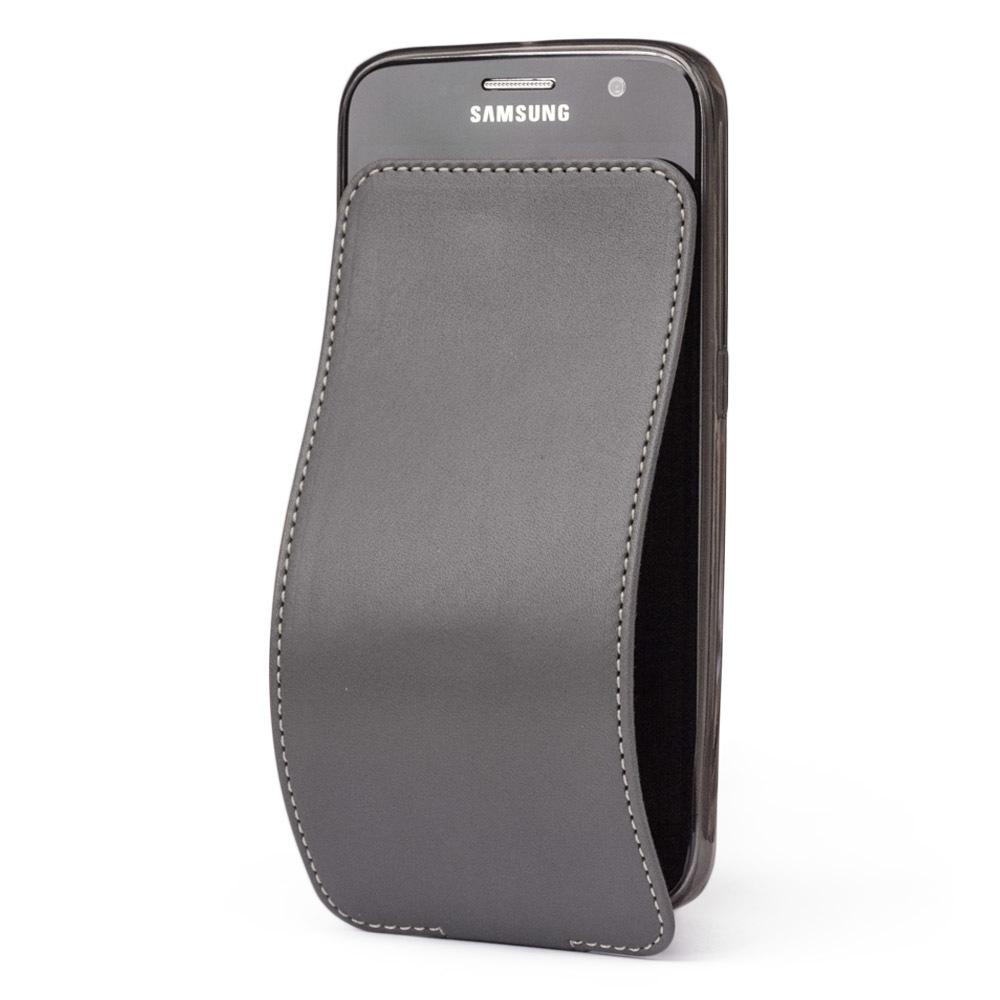 Чехол для Samsung Galaxy S6 из натуральной кожи теленка, серого цвета