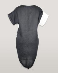 Платье Lagbi 393 лен вышивка однотон к/р (черный)