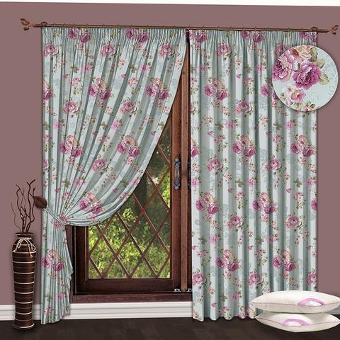 Комплект штор Пионы серо-розовый