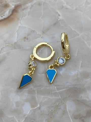 Серьги Корнер из позолоченного серебра с голубой эмалью