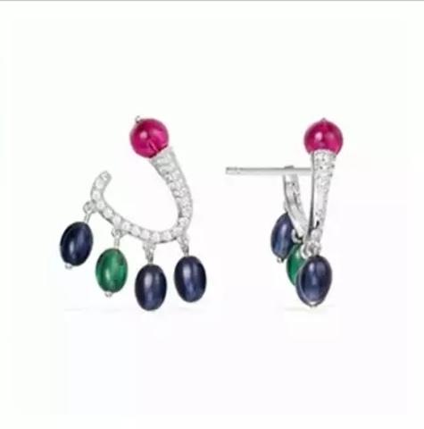 10287 - Пусеты Bon Bon из серебра с подвесками из цветного  кварца