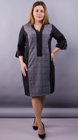 Олена. Комбінована сукня для пишних жінок. Чорний+клітинка.