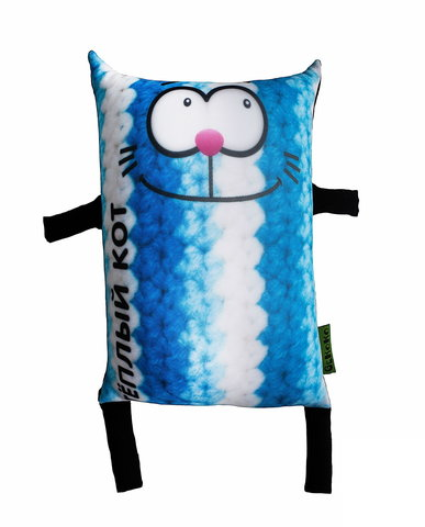 Подушка-игрушка антистресс Gekoko «Теплый кот», голубой 2