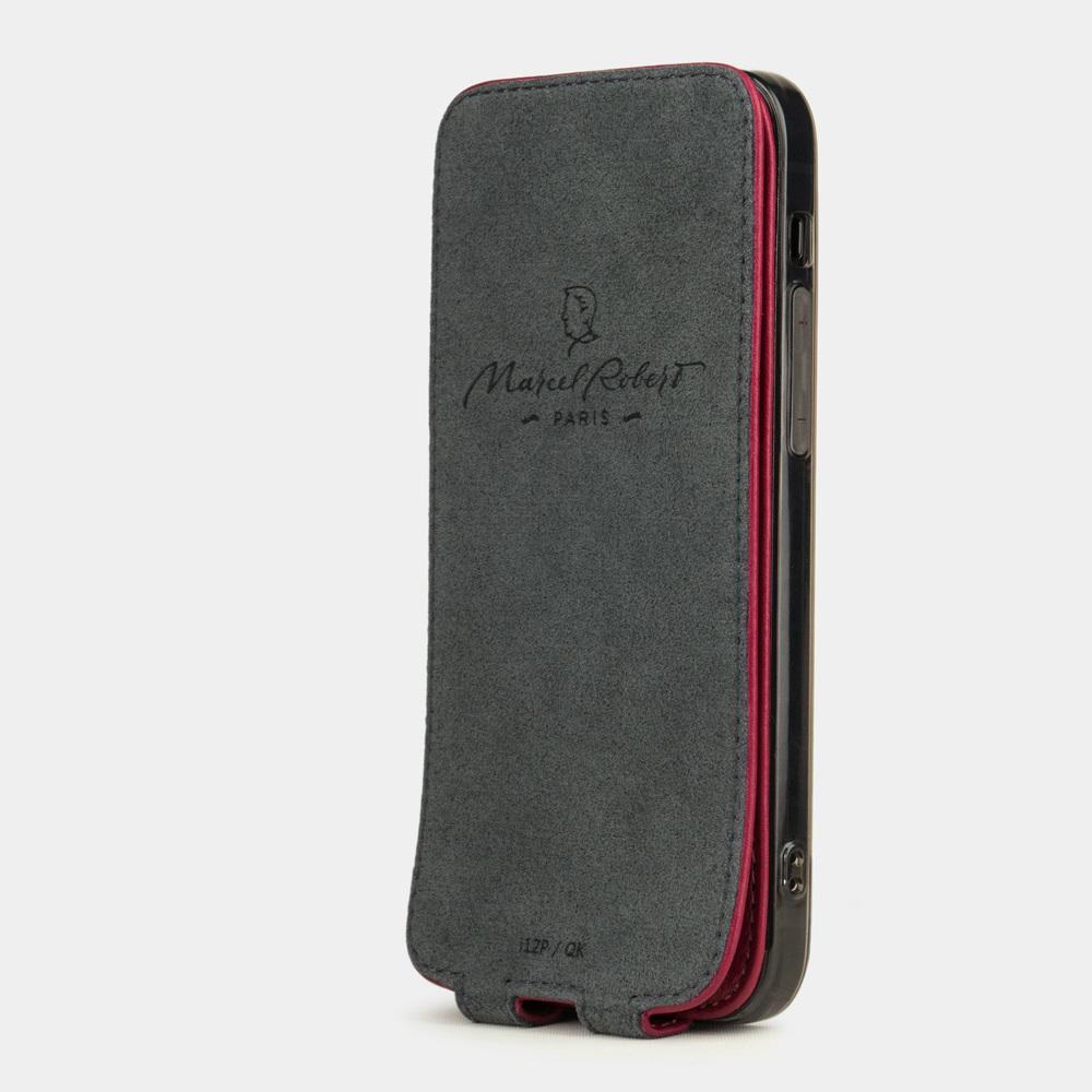 Чехол для iPhone 12/12Pro из натуральной кожи теленка, цвета малины