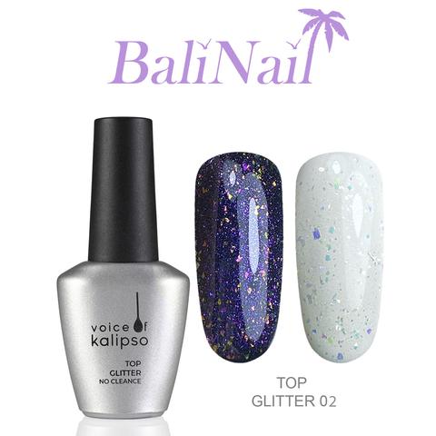 Top Glitter No Cleanse 02 - Верхнее покрытие без липкого слоя с глиттером, 10 мл