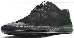 Мужские летние туфли мокасины кожаные смарт кэжуал Luciano Bellini 91754-S-315 All Black.