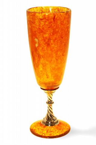 Бокал для шампанского из янтаря, серебро