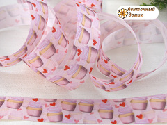 Лента репсовая кексы с кремом на розовом 25 мм № 1