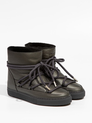 Высокие комбинированные кеды INUIKII 70202-89 Sneaker Full Leather Dark Grey на меху