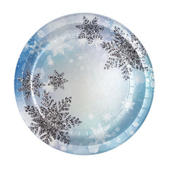 Тарелки бумажные Снежинки 23 см, 6 шт, 1 уп.