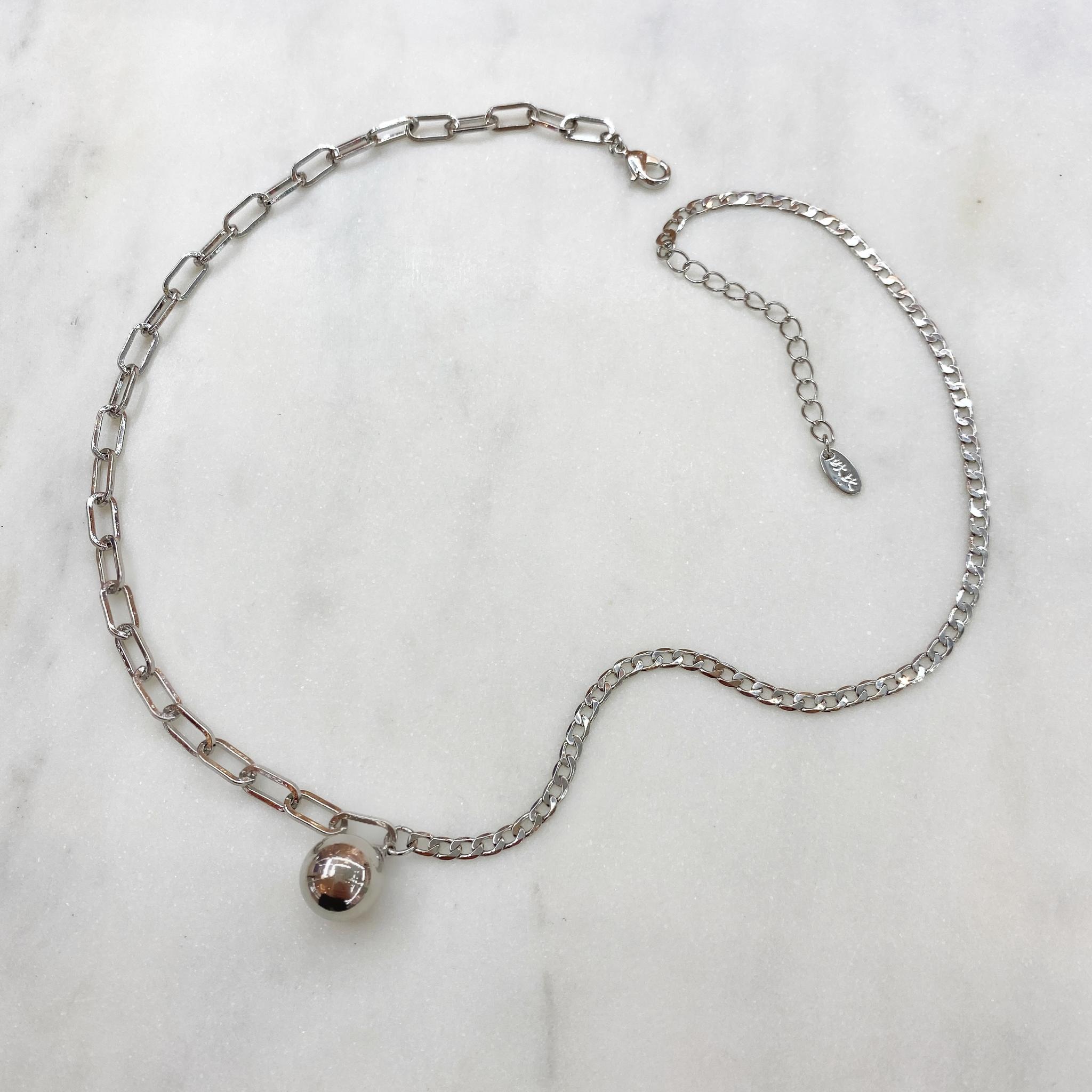 Колье из комбинированных цепей с подвеской-шариком (серебристый)