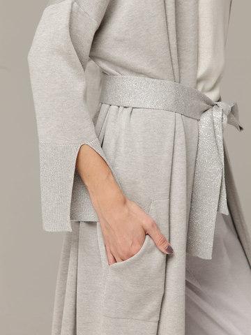Кардиган в цвете серый меланж из струящегося шёлка с кашемиром - фото 5
