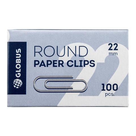 Скрепки Globus металлические 22 мм (100 штук в упаковке)