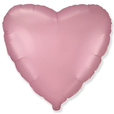 Шар сердце Розовый сатин, 45 см