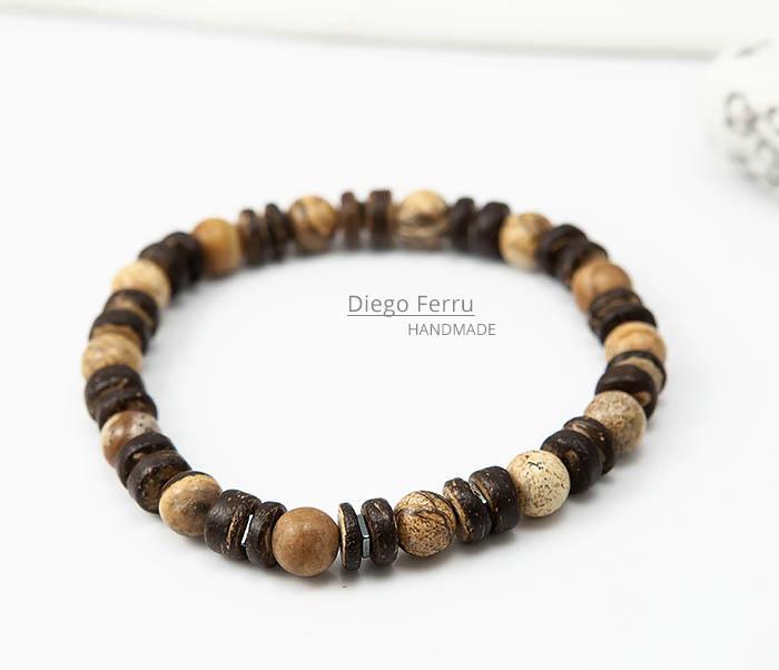 BS768 Мужской браслет из кокоса и камня Diego Ferru, ETHNO фото 02