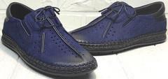 Синие мужские мокасины летние мужские туфли с перфорацией деловой кэжуал Luciano Bellini 91268-S-321 Black Blue.