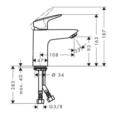 Смеситель для раковины Hansgrohe Logis 71101000 схема