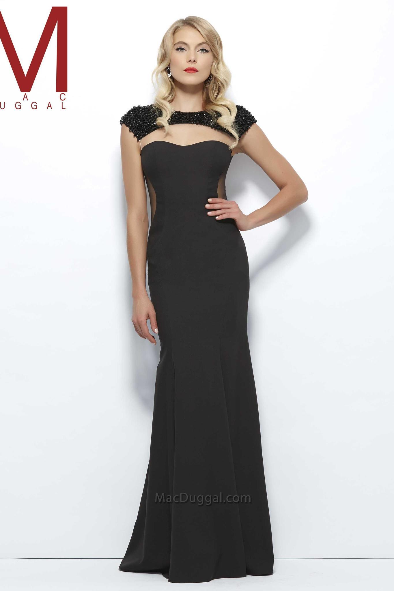 Mac Duggal 93506 Платье по фигуре из плотного материала и украшено по краям прозрачными вставками,цвет:черный