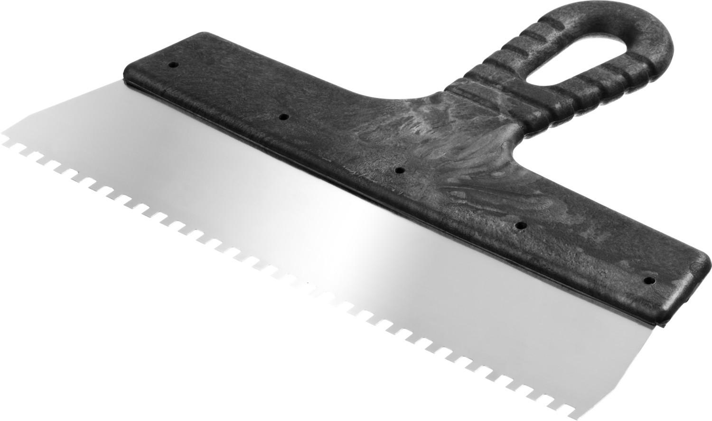Шпатель нержавеющий СИБИН зубчатый, с пластмассовой ручкой, зуб 4х4 мм, 250 мм