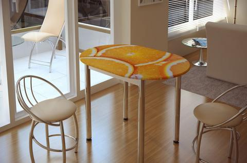 Стол обеденный с принтом Цитрус БТС Белый/цитрус