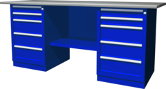 Верстак с двумя тумбами — две тумбы с 5 ящиками, 1900х686х845 мм