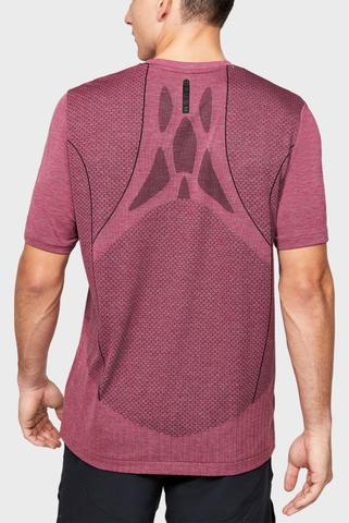 Мужская розовая спортивная футболка Rush HG Seamless Fitted SS Under Armour