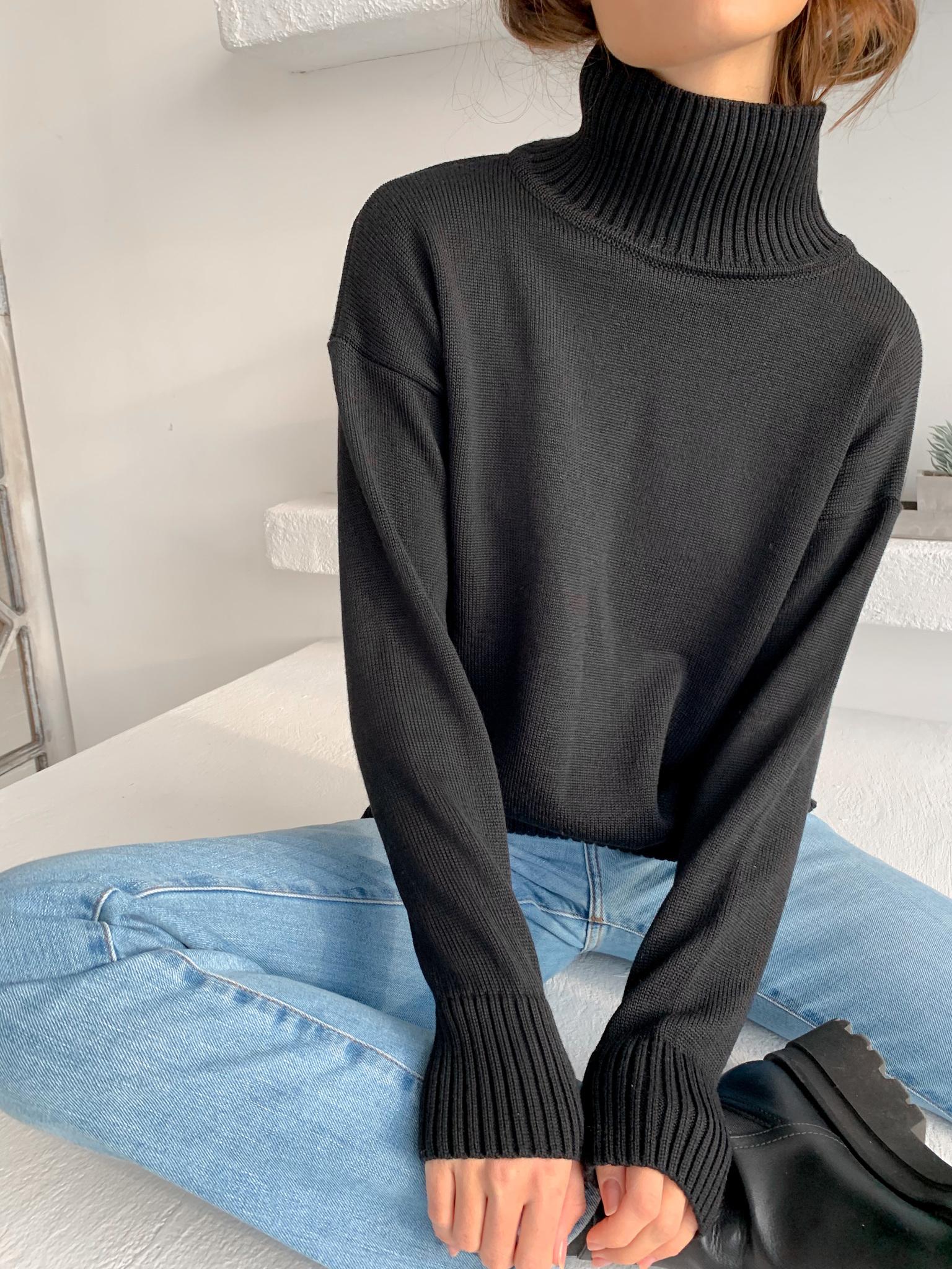 Свитер с горлом (черный) (one size)
