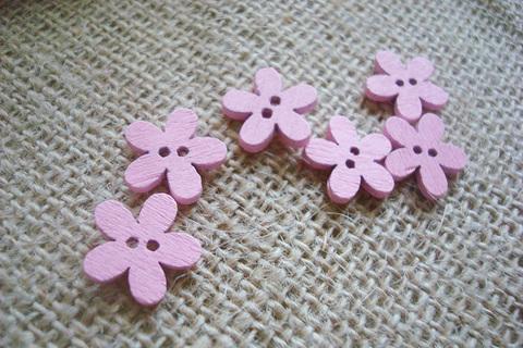 Деревянные пуговки-цветочки, розовый
