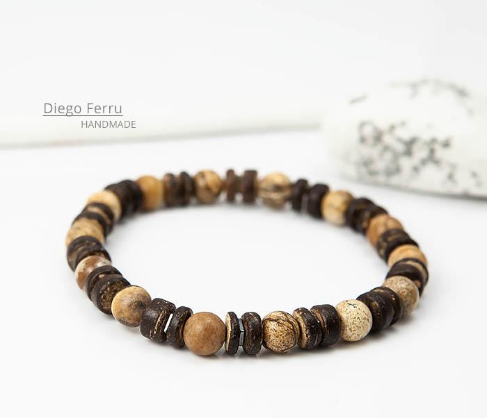BS768 Мужской браслет из кокоса и камня Diego Ferru, ETHNO фото 03