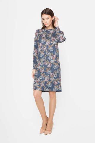 Фото синее платье прямого силуэта с цветочным принтом - Платье З406-618 (1)