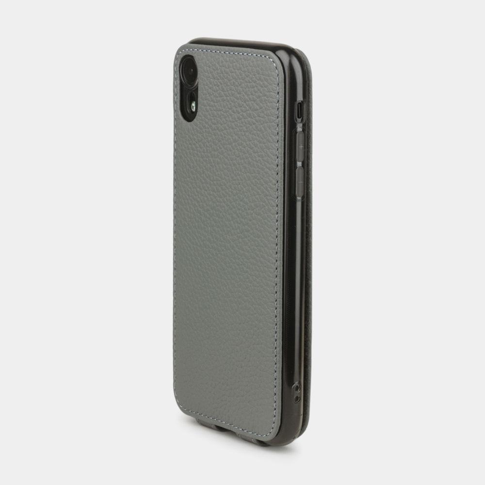 Чехол для iPhone XR из натуральной кожи теленка, стального цвета