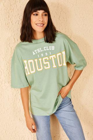 Qadın üçün geniş ölçülü açıq yaşıl  t-shirt Houston 10501026