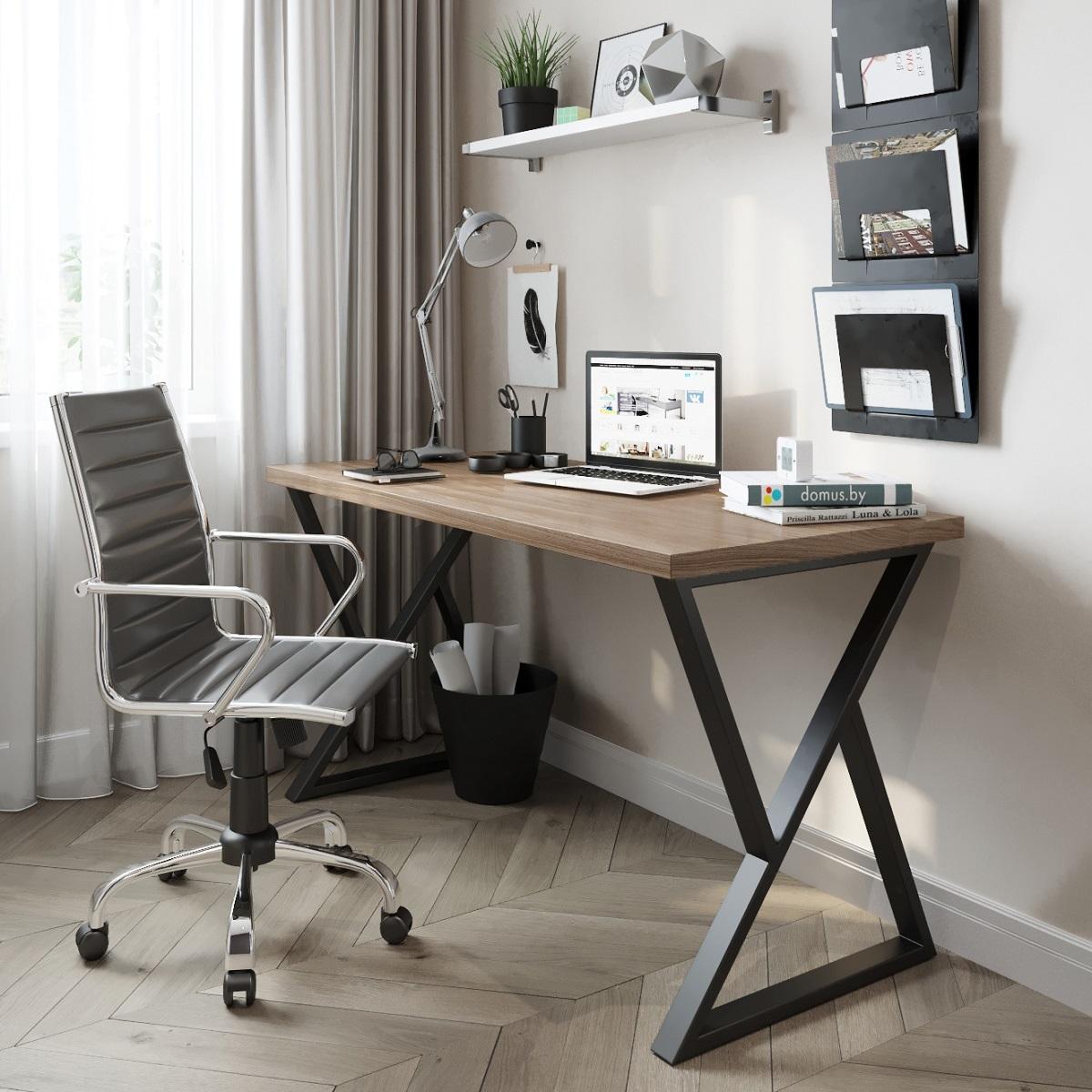 Письменный стол ДОМУС СП014 орех темный/металл черный