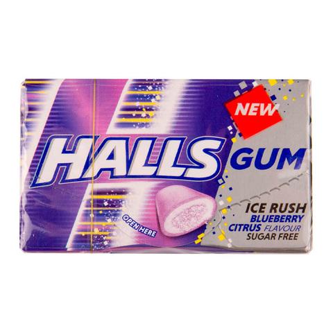 Жевательная резинка Halls Ice Rush Blueberry Citrus со вкусом голубики и цитруса 18 гр