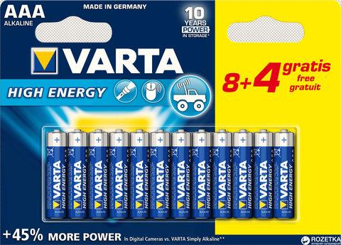 Батарейки Varta High Energy LR03, AAA (8+4/120) BL