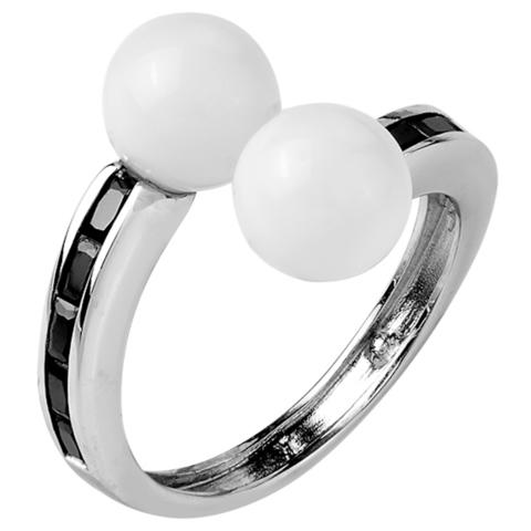 Кольцо из серебра с черной нано шпинелью и белым кварцем  Арт.1085н-шп-кв