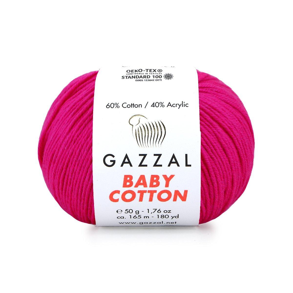 Пряжа Gazzal Baby Cotton 3461 фуксия