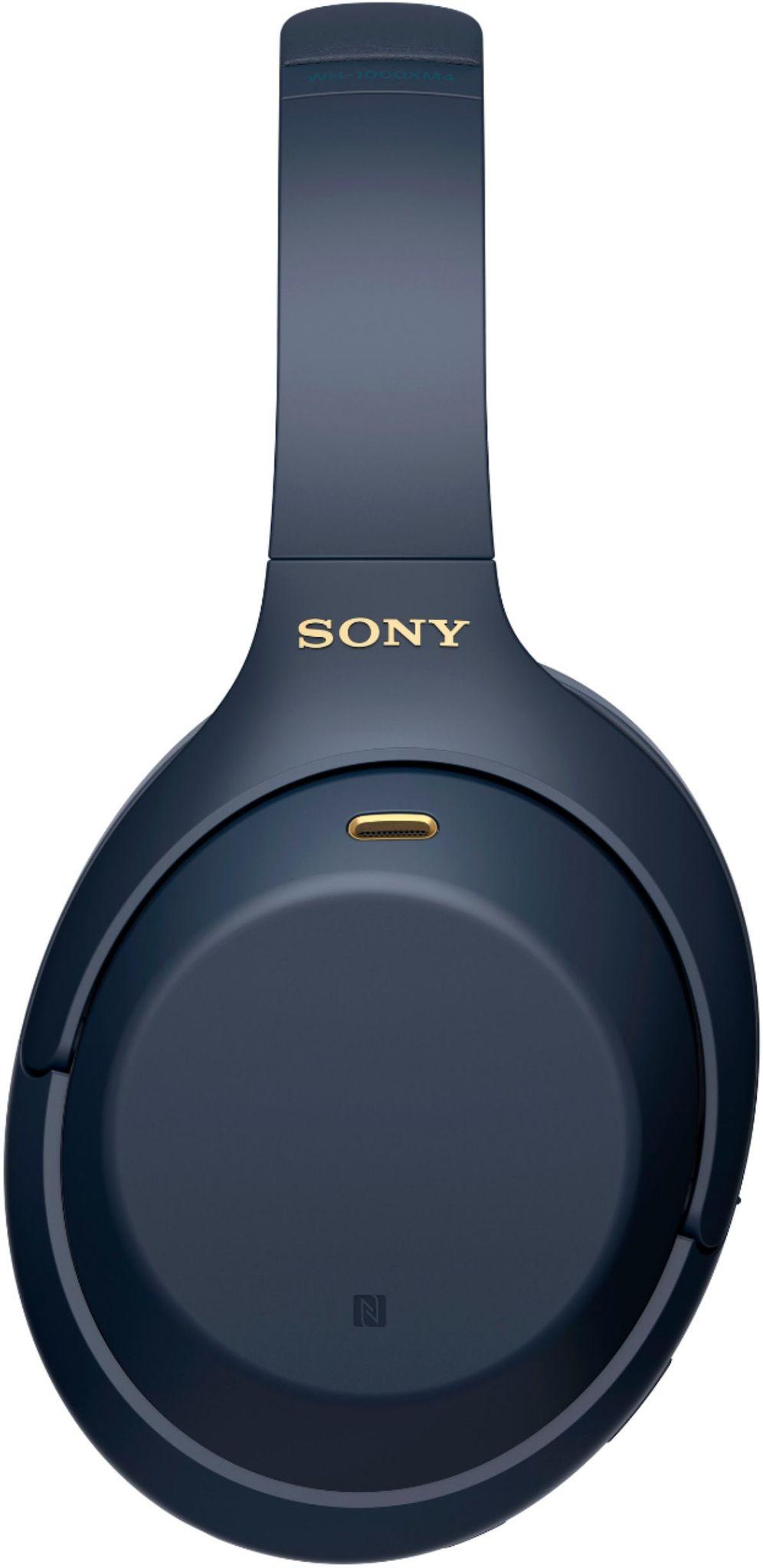 Беспроводные наушники Sony WH1000XM4L синего цвета с активным шумоподавлением и сенсорным управлением