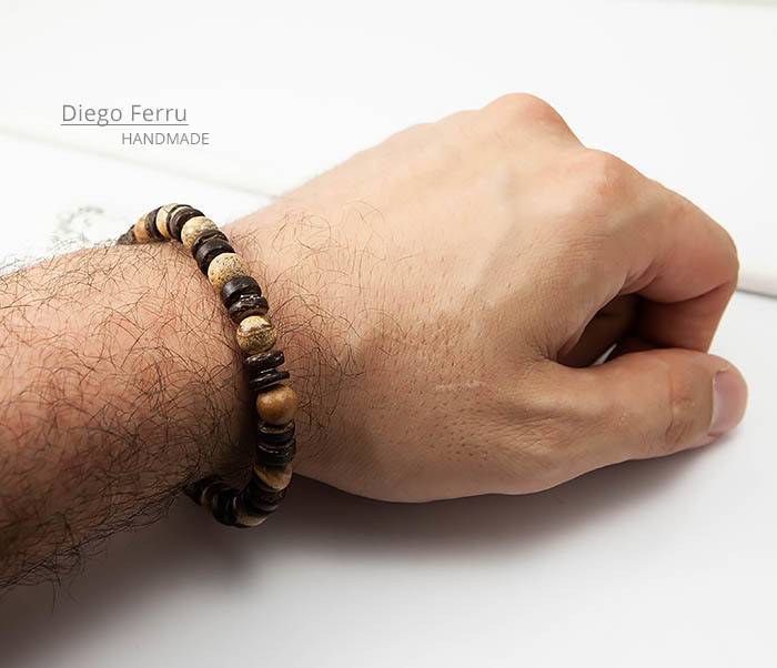 BS768 Мужской браслет из кокоса и камня Diego Ferru, ETHNO фото 07
