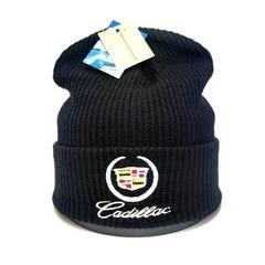 Вязаная шапка с вышитым логотипом Cadillac (Кадиллак)  черная фото 1