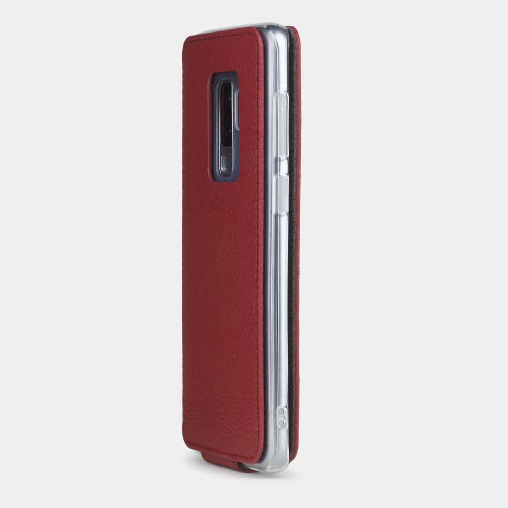 Чехол для Samsung Galaxy S9 Plus из натуральной кожи теленка, вишневого цвета